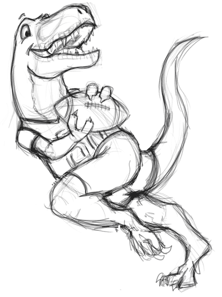 T-Rex playing American football initial sketch