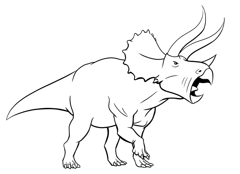 Drawing triceratops - ink outline