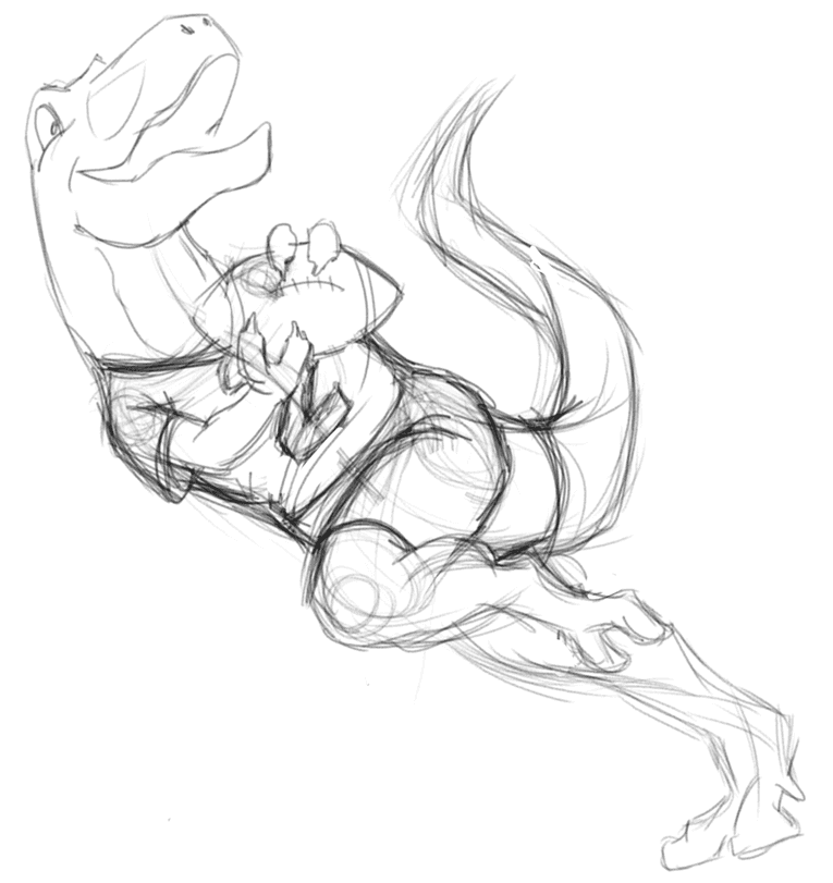 T-Rex playing American football second sketch