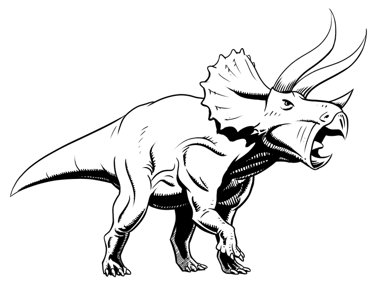 Drawing triceratops - texture inking