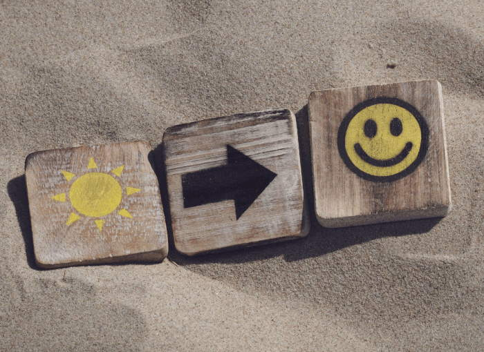 Wooden emoticons on the beach