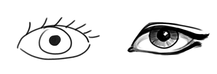 Two drawings of eyes