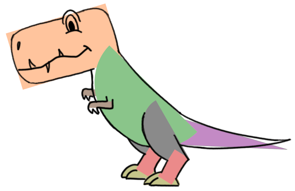Cartoon T-Rex trace the shapes